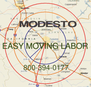 Hire pro Modesto moving help to load and unload for your move.